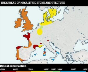 Radiocarbon dating of the 'Spanish Stonehenge' found the stones range in age from around 4,000 to 5,000 years old and this ties them curiously to the history of Stonehenge. The first monolith structure in Europe was found in Brittany dating back as far as 4,794 BC and other early monuments (red) were found in northwest France, the Channel Islands, Catalonia, southwestern France, Corsica, and Sardinia from a similar time period.