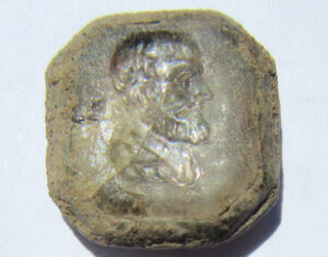 An intaglio glass, or possibly crystal, sleeve button (cuff link) was also found during one of the first archaeological digs of the 2020 season at Colonial Michilimackinac.