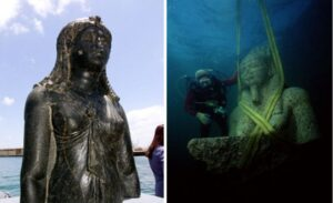 The statue of the Goddess Isis sits on display on a barge in an Alexandrian naval base (left). Pictured right is a colossal statue of red granite representing the god Hapi, which decorated the temple of Heracleion