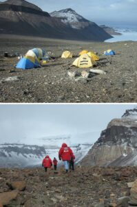 Top; Basecamp with National Reporter tent in the foreground. Bottom; Star reporter Ace Flashman walking with his investigative team.