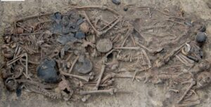 The grave in Koszyce, southern Poland, holds the remains of 15 people and the grave goods that were buried with them.