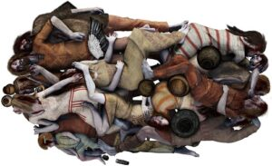 Artist's reconstruction of the grave, showing how the bodies were positioned.