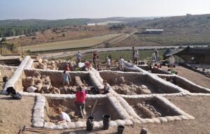 The team of archaeologists found a temple with two large pillars leading to a larger entrance area in what was the city of Lachish