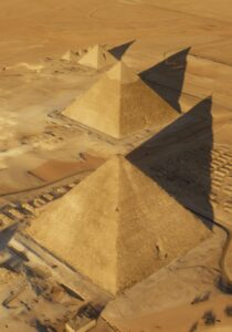 An aerial view of the pyramids at Giza