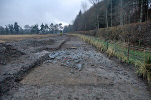 The water pipeline skirted the edge of a Scheduled Monument identified from aerial photographs as a possible early medieval settlement