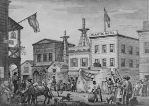 Niantic Hotel, Historic View, Clay & Sansome Streets, San Francisco, San Francisco County, CA. BUILT 1850 - Destroyed 1851.