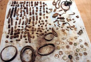 Treasure trove: Darren Webster uncovered a 1,000-year-old casket containing 200 pieces of silver jewellery, coins, hacksilver and ingots while using his metal detector in Cumbria