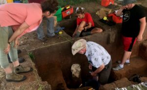 Anthropologist and archaeology professor Donald Blakeslee in one of the pits being excavated in Arkansas City, Kan.