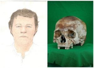 The skull of the carpenter and a facial reconstruction showing how he may have looked in real life