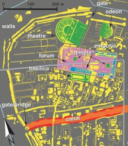 The map has enabled the researchers from the University of Padua in Italy to plot out the city walls, the street network, dwellings, theatres, rivers and canals