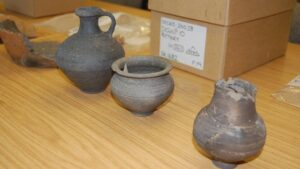Several complete pots were found when a Roman burial was excavated