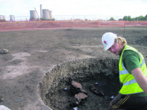 Grain storage pits were later used for ritual feasting and many animal bones were found
