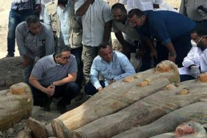 30 mummies discovered earlier this year in Luxor and estimated to be 3,000 years old.