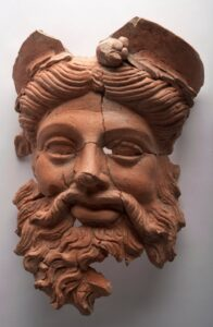 The terracotta mask of the ancient Greek god Dionysus, found at the ancient city of Daskyleion, Balıkesir, western Turkey