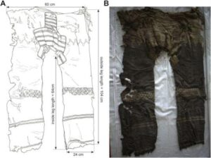 Front view of the woollen trousers (find number: 2003SYIM21:19, after Xinjiang, 2011) from the Yanghai site, tomb M21; (A) drawing: U. Beck; (B)