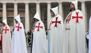 Templars at Pope Francis' weekly audience in Rome on November 26, 2014. A secret cave used by the Knights Templar 700 years ago has been found in Shropshire.